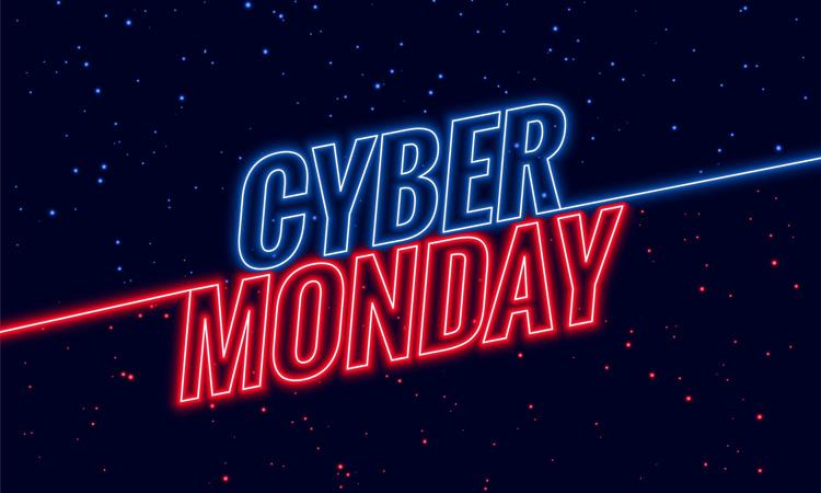 Schnäppchenpreise-Tag Cyber Monday Header mit Space Hintergrund