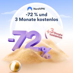 NordVPN: 72% Rabatt auf das 2-Jahres Abo + 3 EXTRA Monate gratis